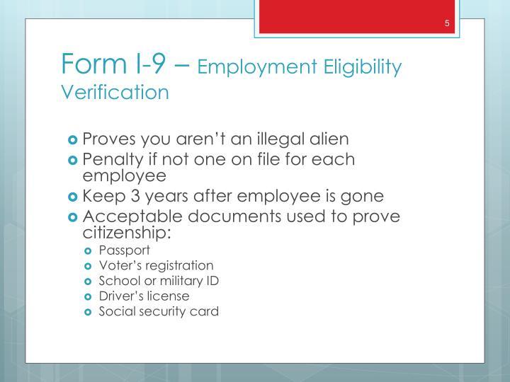 Proves you aren't an illegal alien