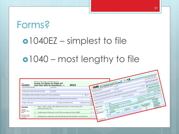 1040EZ – simplest to file