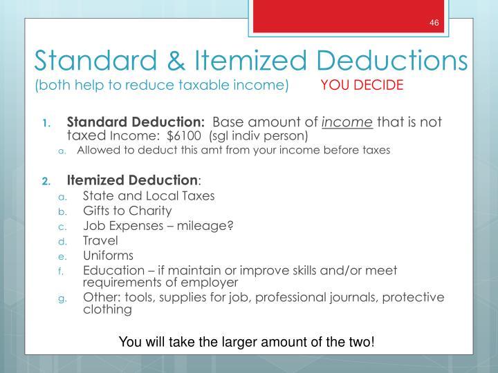 Standard Deduction:
