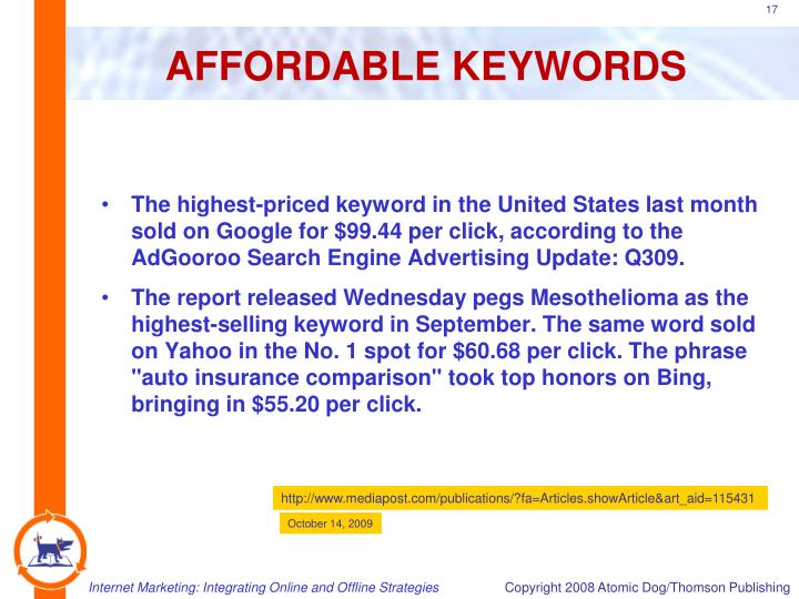 AFFORDABLE KEYWORDS