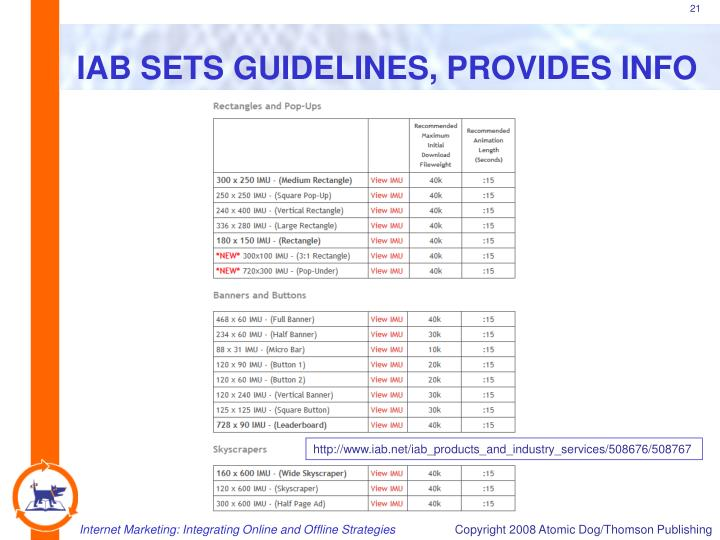IAB SETS GUIDELINES, PROVIDES INFO