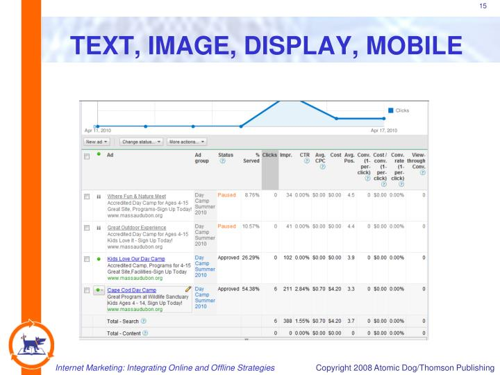 TEXT, IMAGE, DISPLAY, MOBILE