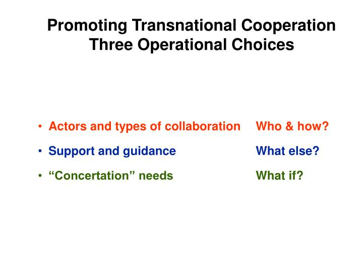 Promoting Transnational Cooperation