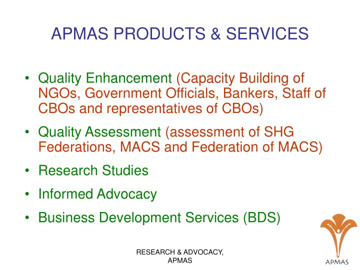 APMAS PRODUCTS & SERVICES