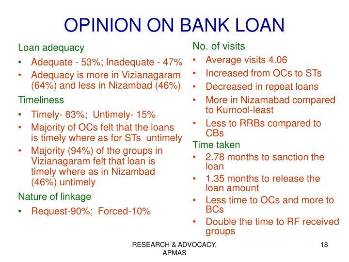 OPINION ON BANK LOAN