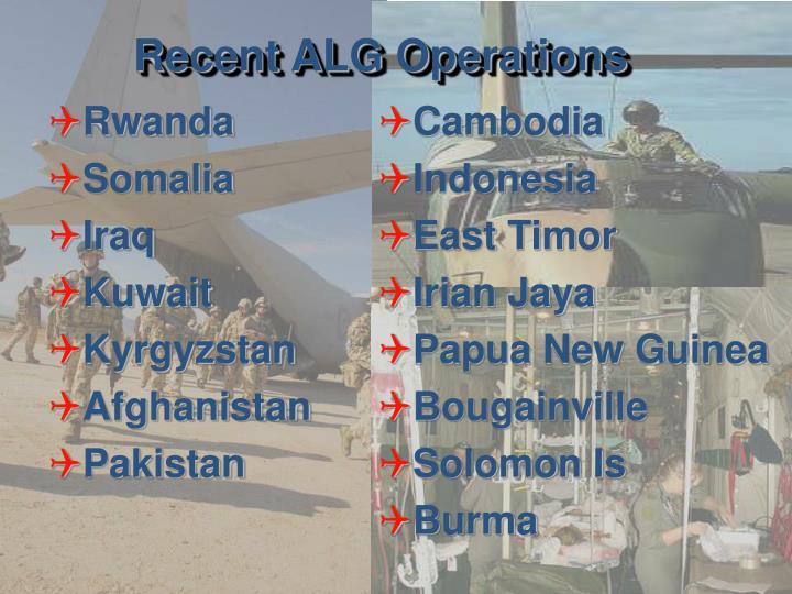 Recent ALG Operations
