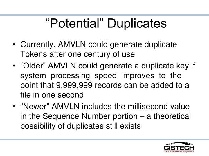 """Potential"" Duplicates"