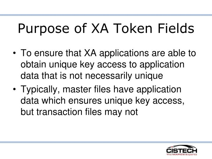 Purpose of XA Token Fields