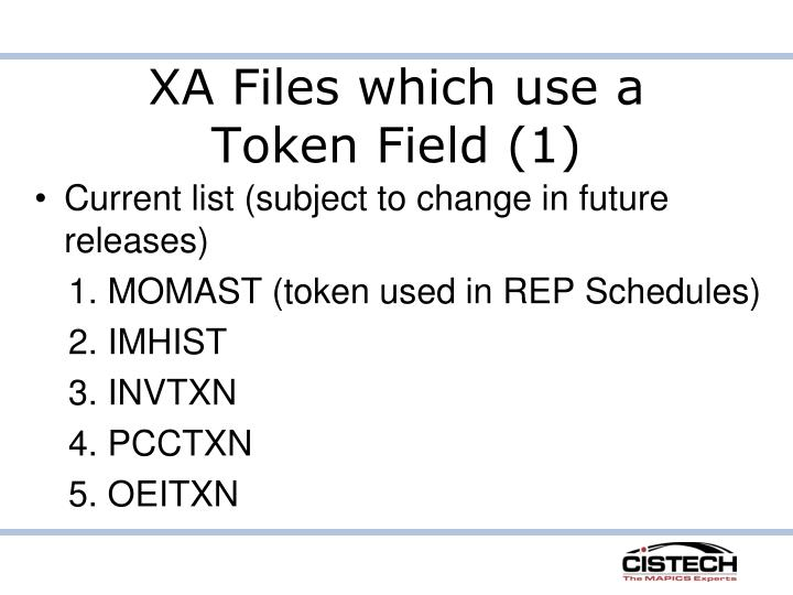 XA Files which use a