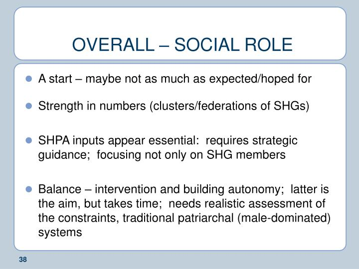 OVERALL – SOCIAL ROLE