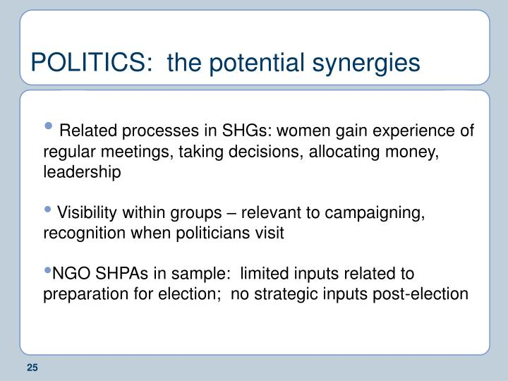 POLITICS:  the potential synergies