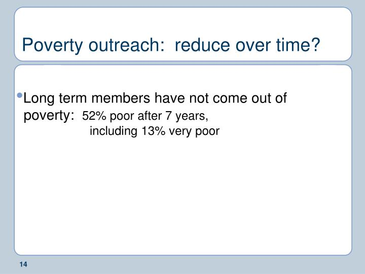 Poverty outreach:  reduce over time?