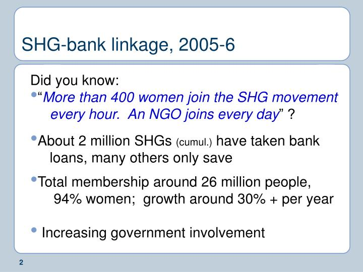 SHG-bank linkage, 2005-6