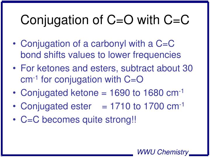 Conjugation of C=O with C=C