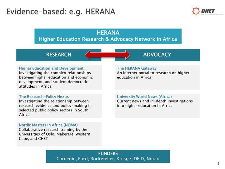 Evidence-based: e.g. HERANA