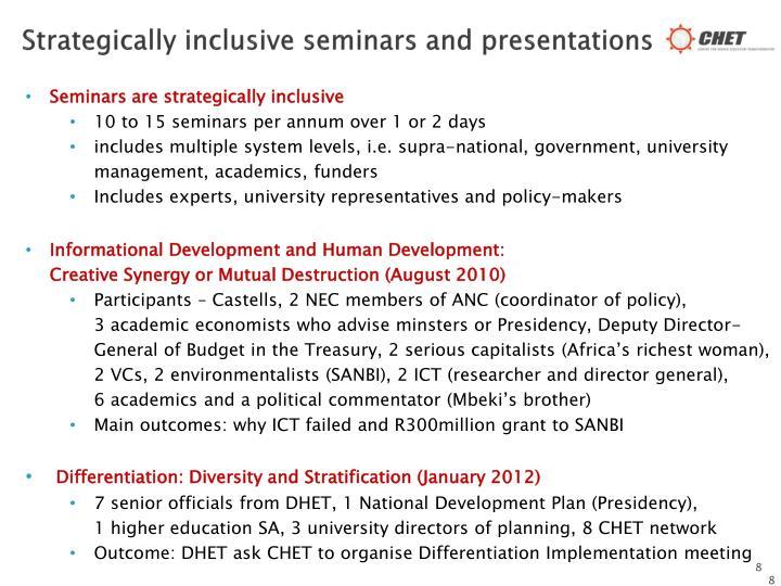 Strategically inclusive seminars