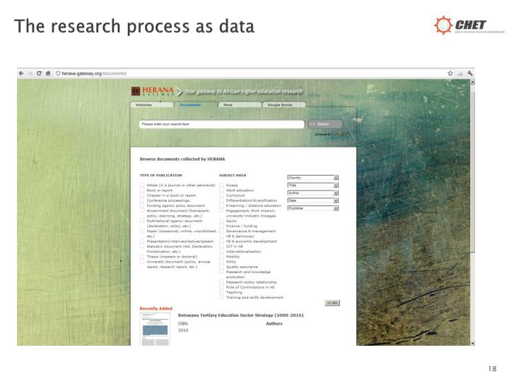 The research process as data