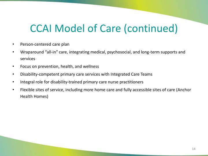 CCAI Model of Care (continued)
