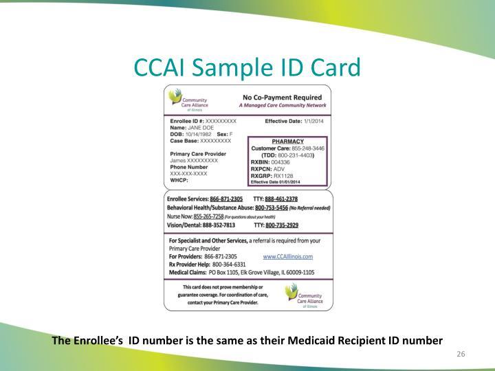 CCAI Sample ID Card