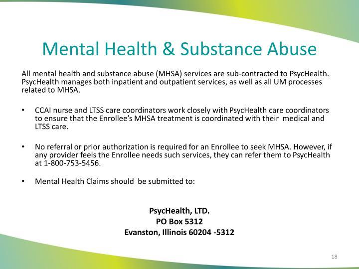 Mental Health & Substance Abuse