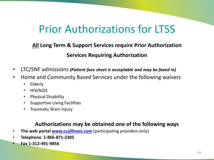 Prior Authorizations for LTSS