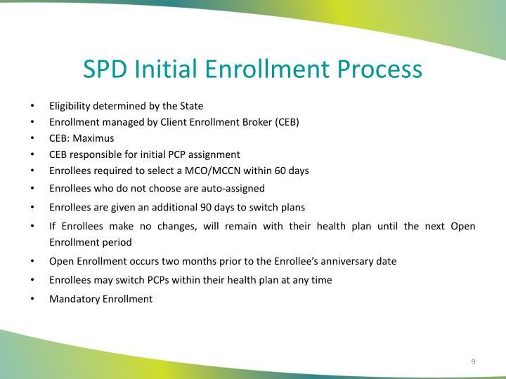SPD Initial Enrollment Process