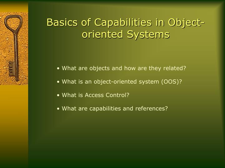 Basics of capabilities in object oriented systems