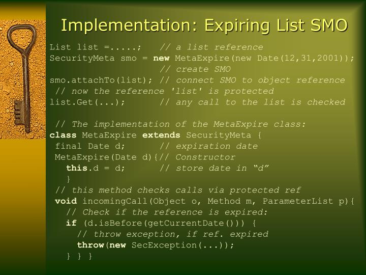 Implementation: Expiring List SMO