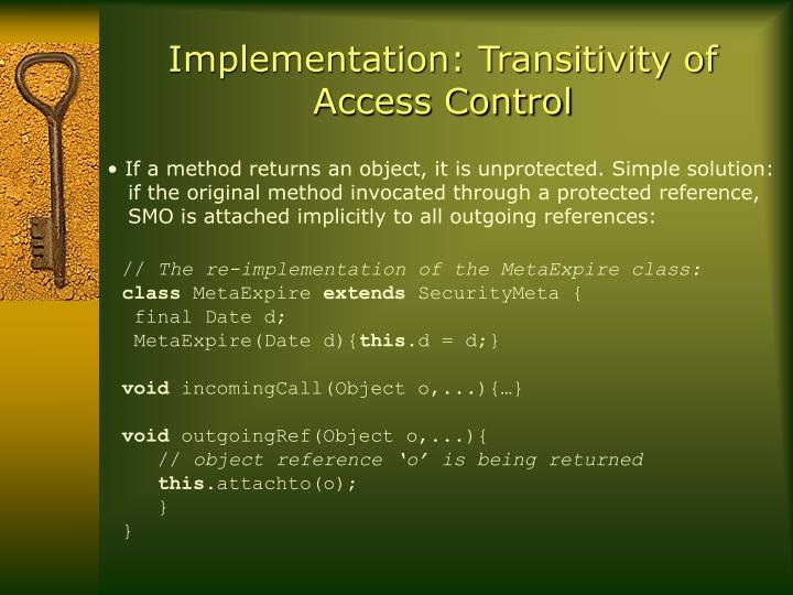 Implementation: Transitivity of Access Control