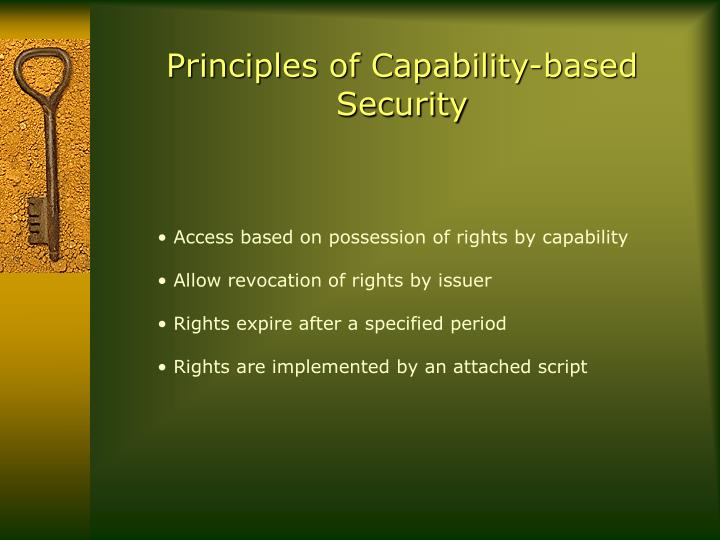 Principles of Capability-based Security