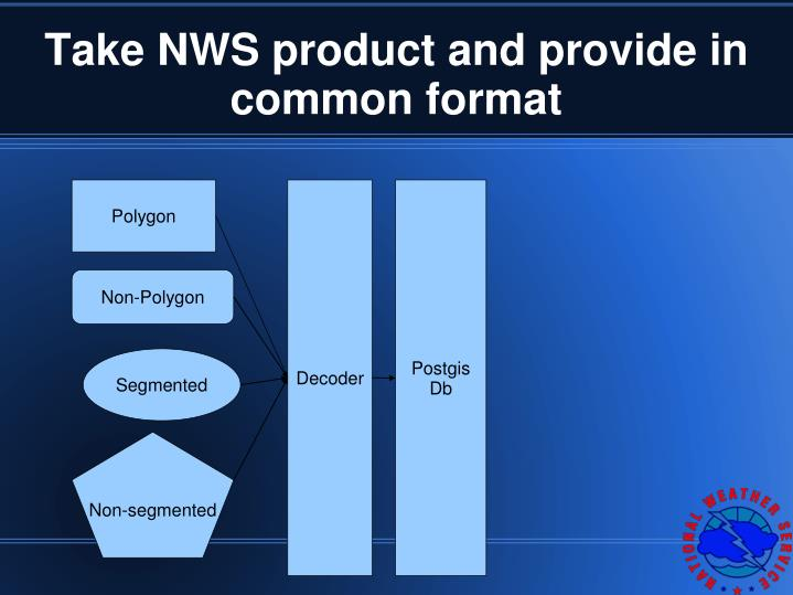 Take NWS product and provide in common format