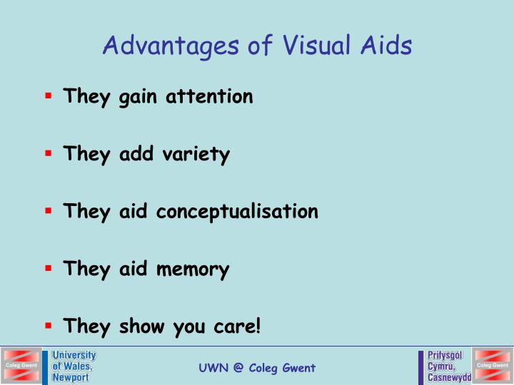 advantage of visual aids To explore the use and benefits of visual aids, in the students learning process in dera ghazi khan objectives of the research following are the main objectives of this research:.