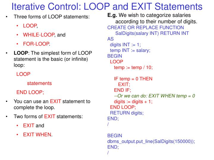 Iterative Control: LOOP and EXIT Statements