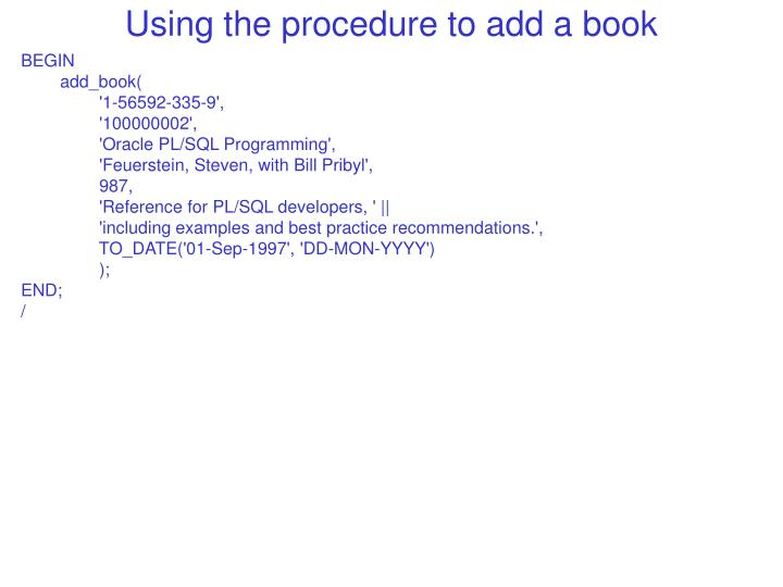 Using the procedure to add a book