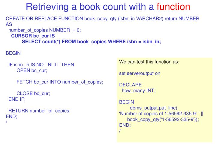 Retrieving a book count with a