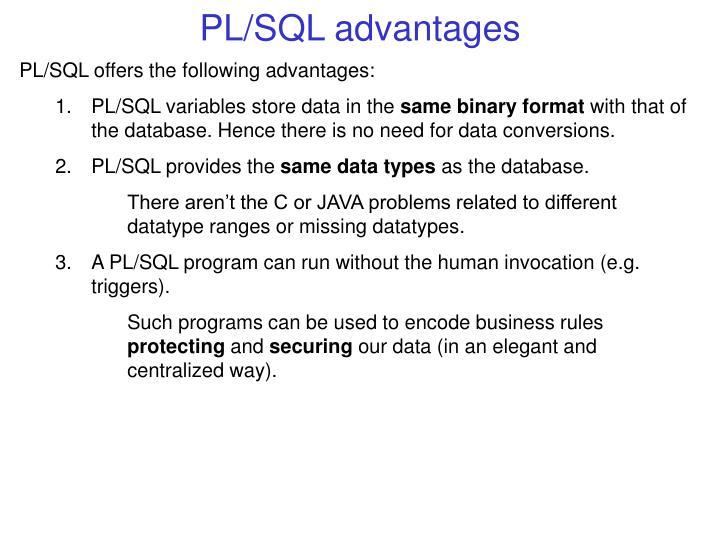 PL/SQL advantages