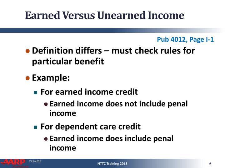 Earned Versus Unearned Income