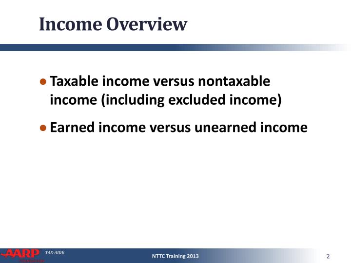 Income overview