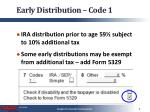 early distribution code 1