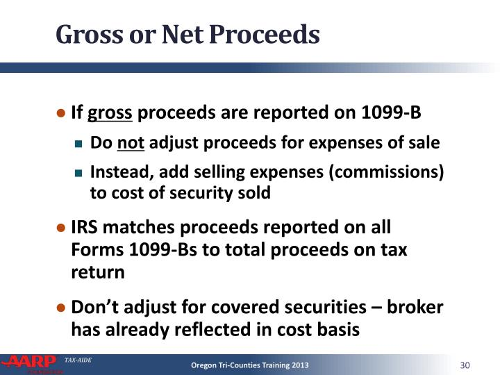 Gross or Net Proceeds