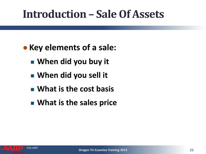 Introduction – Sale Of Assets