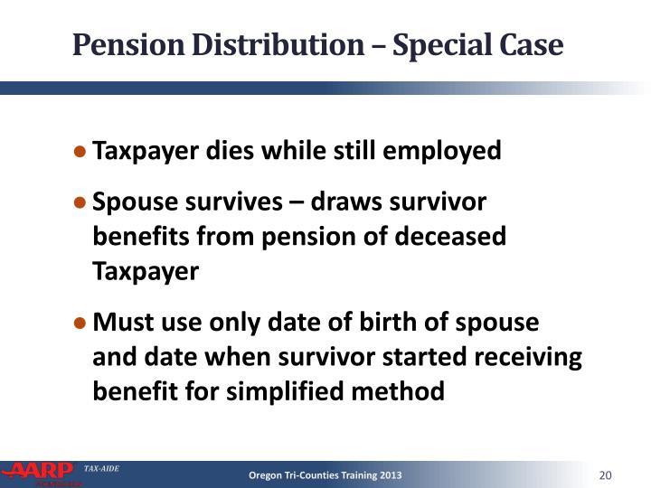 Pension Distribution – Special Case