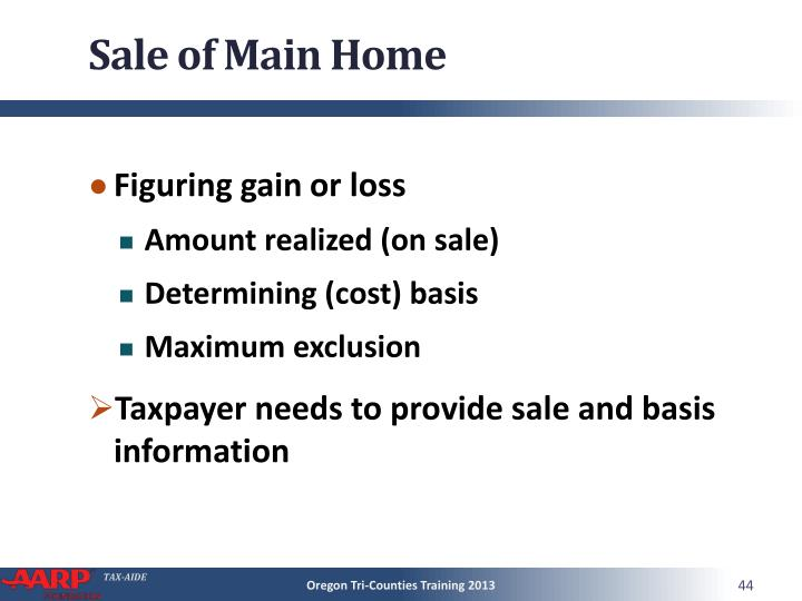 Sale of Main Home