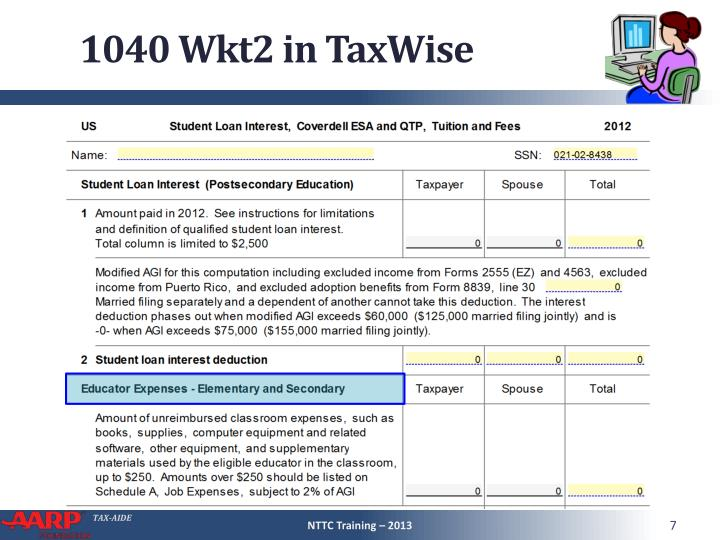 1040 Wkt2 in TaxWise