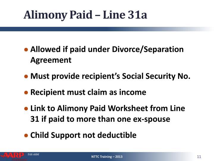 Alimony Paid – Line 31a