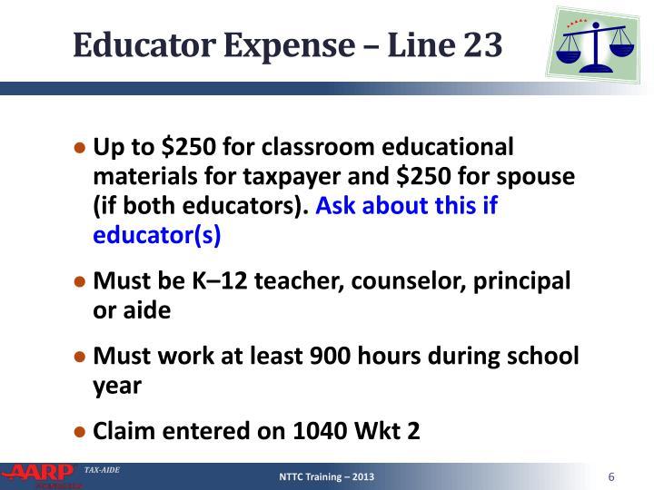 Educator Expense – Line 23