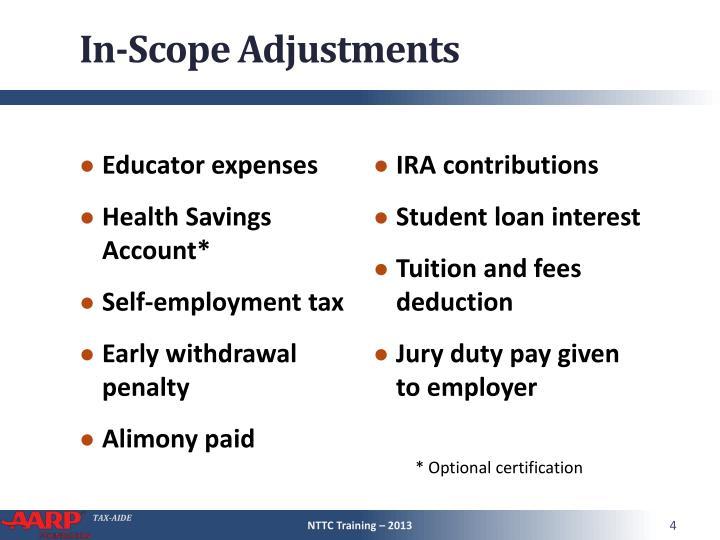 In-Scope Adjustments