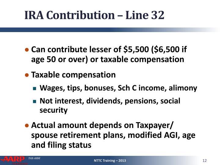 IRA Contribution – Line 32