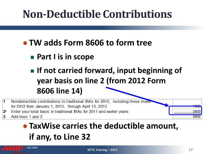Non-Deductible Contributions