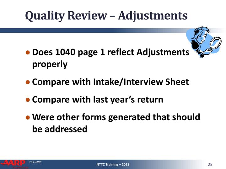 Quality Review – Adjustments